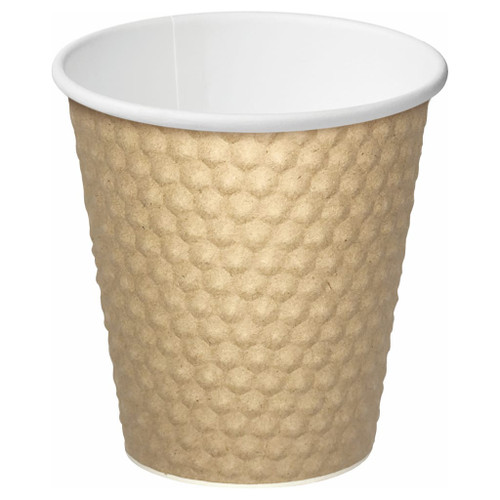 The texture of the Castaway dimple cup design offers a unique look and feel, making them enjoyable to hold. The dual layer of paper is designed with insulating pockets of air to reduce the heat transferred from contents to fingers.