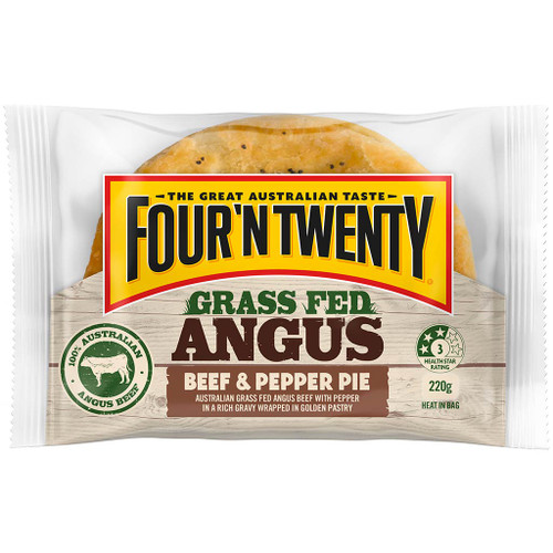 Australia's favourite pie is now made with 100% premium Australian grass fed Angus beef in a traditional Four'N Twenty pastry.