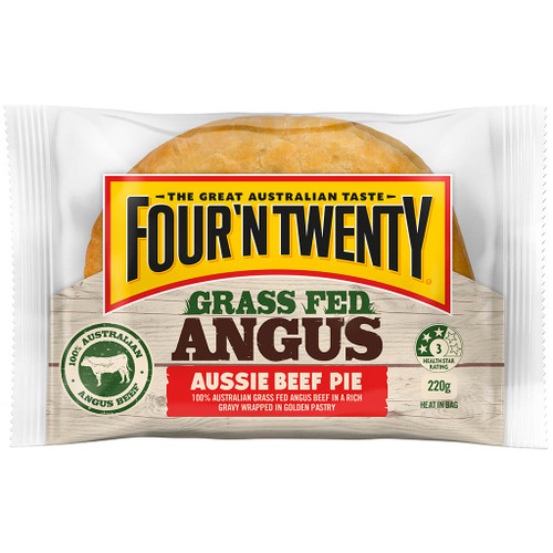 Australia's favourite pie is now made with 100% Australian grass fed angus beef and pepper. Who can resist the grass fed angus?.