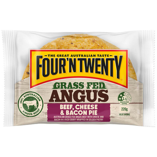 Australia's favourite pie is now made with 100% Australian grass fed angus beef, cheese and bacon. Who can resist the legendary angus?.