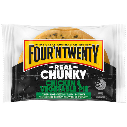 Real chunks of chicken and vegetables using 100% Aussie chicken, encased in famous Four'N Twenty pastry.