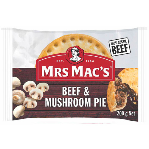 Made with 100% australia beef, diced mushrooms in a rich and tasty gravy all wrapped in our crispy, golden pastry.