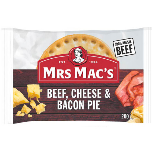 Made with 100% Australian beef, diced bacon bacon and a layer of creamy cheese in a rich, tasty gravy.