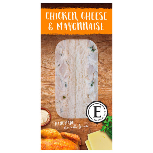 Succulent chicken, tasty cheese and rich whole egg mayonnaise perfectly blended in soft white bread.