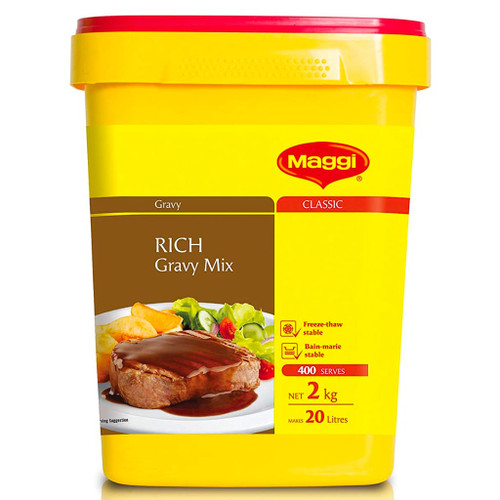 A traditional beef style gravy that adds depth of flavour to any dish. Ideal for roasts, pies, grilled meats and hot chips.