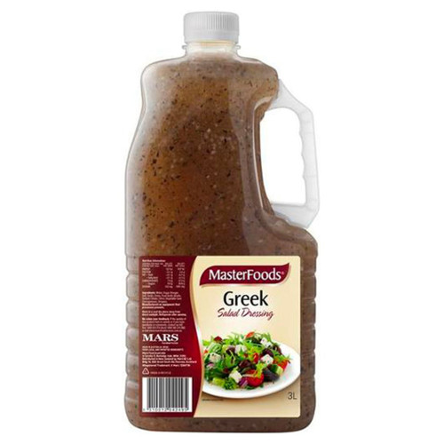 A traditional tasting greek salad dressing that features a flavour blend of garlic, oregano and lemon. Great on greek salads. Can be also used as a dressing base for cold meats or grilled lamb.