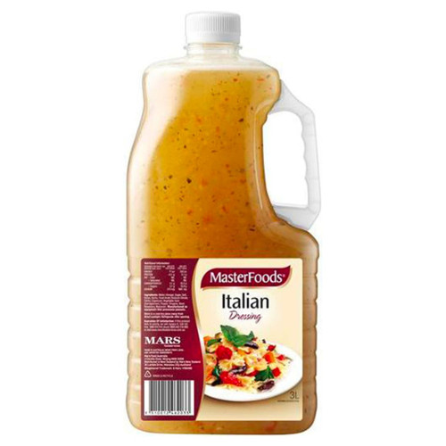 MasterFoods Italian dressings is flavoured with onion, caosicum and a selection of our famous herbs and spices.