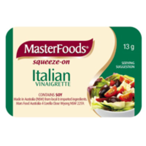 MasterFoods Italian dressings is flavoured with onion, caosicum and a selection of our famous herbs and spices. in a squeeze on pack.