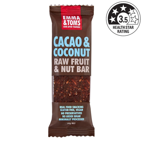 Our Cacao and Coconut bar is simple and effective. Chewy shredded coconut and dates mixed with the chocolatey goodness of Cacao. Add in some raw cashews and you've got yourself a fibre-packed energy bar. Ingredients: Dates, raw cashews, raisins, coconut, cacao powder.