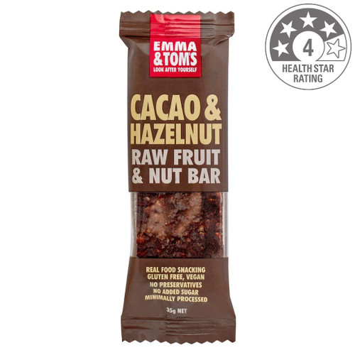 Emma & Tom's Cacao and Hazelnut raw fruit and nut bar is the real deal and tastes just like Nutella. Made with 20% roasted hazelnut and 17% cocoa and sweetened with date, this healthy bar will curb your 3PM chocolate craving.