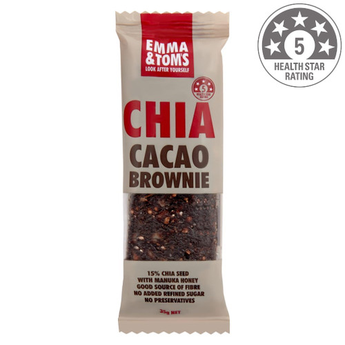 If you're looking for a bar that is jam-packed with all-natural goodness, look no further. With cacao, oats, chia seeds, sunflower seeds, manuka honey and purified quinoa, our Chia Cacao and Mint bar is loaded with all that good stuff. It contains 15% chia seeds.