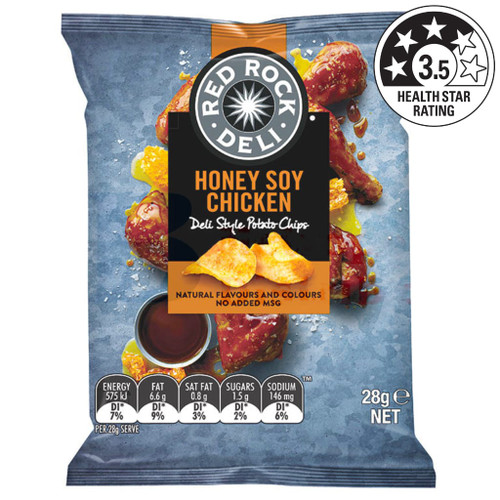 Red Rock deli chips honey soy chicken style potato chips contain natural flavours and colours with no added MSG.
