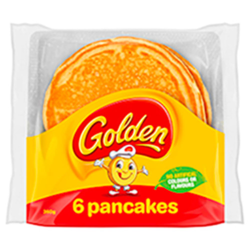 Golden pancakes contain no artificial colours or flavours. Great for dessert, breakfast or a snack at any time.
