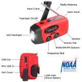 Hand Crank and Solar Radio with NOAA / FM  / AM / LED Flashlight / Mobile Phone Charger / 1,000 mAh Lithium Battery