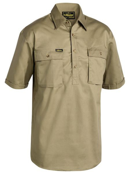 CLOSED FRONT COTTON DRILL SHIRT - SHORT SLEEVE BSC1433