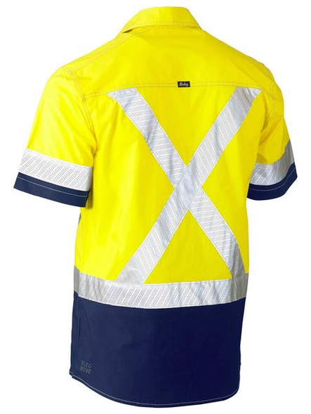 FLEX & MOVE™ TWO TONE HI VIS STRETCH UTILITY SHIRT - SHORT SLEEVE BS1177XT