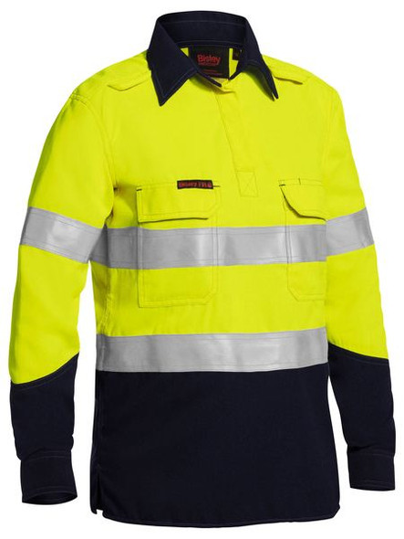 WOMENS TENCATE TECASAFE® PLUS TAPED TWO TONE HI VIS FR CLOSED FRONT SHIRT WITH CONCEALED FRONT PLACKET- LONG SLEEVE BLC8075T