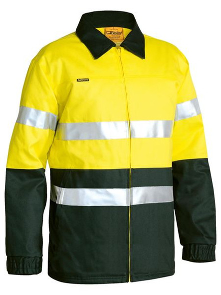 2 TONE HI VIS DRILL JACKET 3M REFLECTIVE TAPE  BK6710T