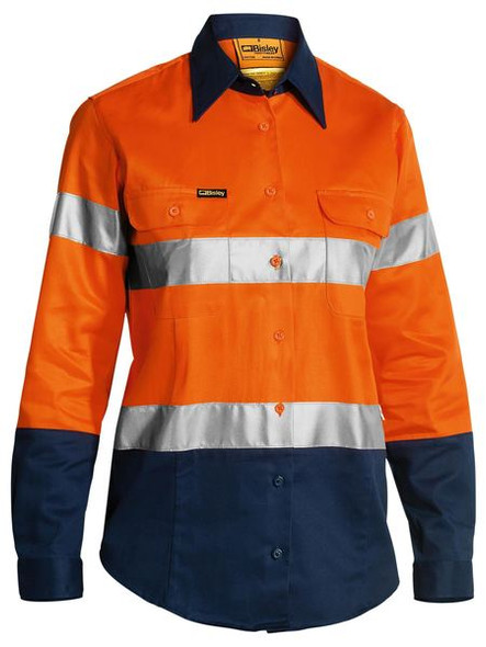 2 TONE WOMENS HI VIS DRILL SHIRT 3M REFLECTIVE TAPE - LONG SLEEVE BLT6456
