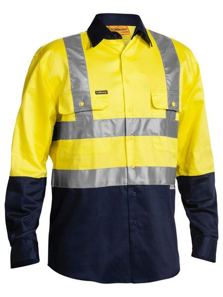 2 TONE HI VIS DRILL SHIRT 3M REFLECTIVE TAPE - LONG SLEEVE  BS6267T
