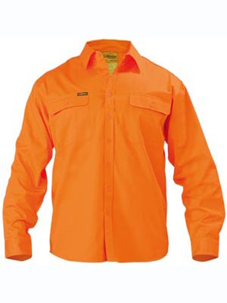 HI VIS MENS DRILL SHIRT - LONG SLEEVE  BS6339