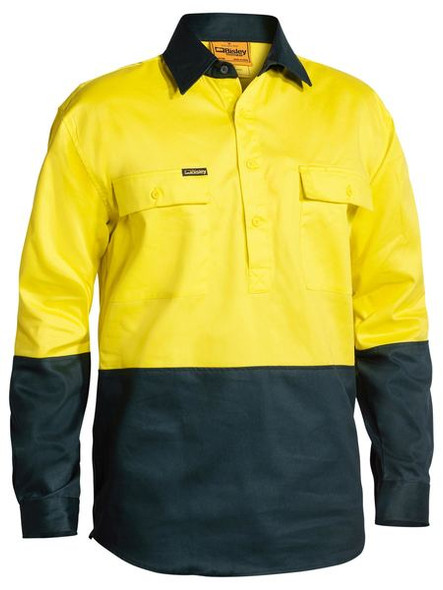 2 TONE CLOSED FRONT HI VIS DRILL SHIRT - LONG SLEEVE  BSC6267