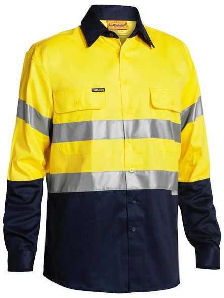 2 TONE HI VIS SHIRT 3M REFLECTIVE TAPE - LONG SLEEVE  BT6456
