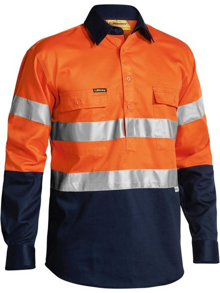 2 TONE CLOSED FRONT HI VIS DRILL SHIRT 3M REFLECTIVE TAPE - LONG SLEEVE  BTC6456