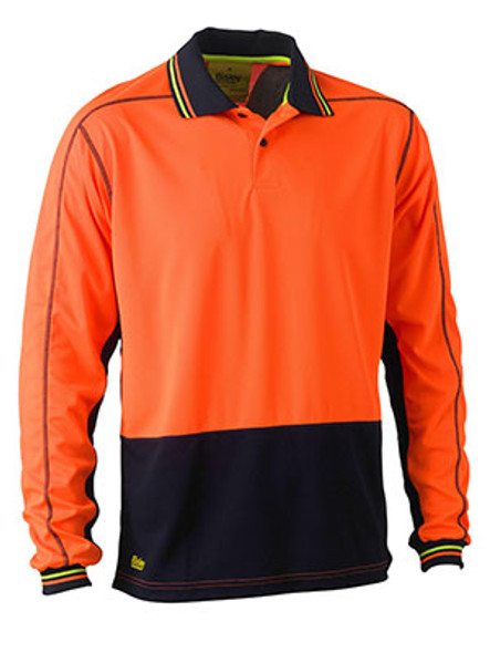Bisley Two Tone Hi Vis Polyester Mesh Long Sleeve Polo Shirt (BK6219)