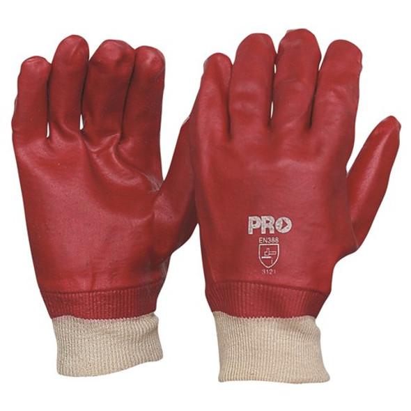 ProChoice® 27cm Red PVC / Knit Wrist Gloves Large PVC27KW pk12