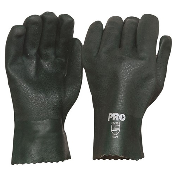 ProChoice® 27cm Green Double Dipped PVC Gloves Large PVC27DD pk12