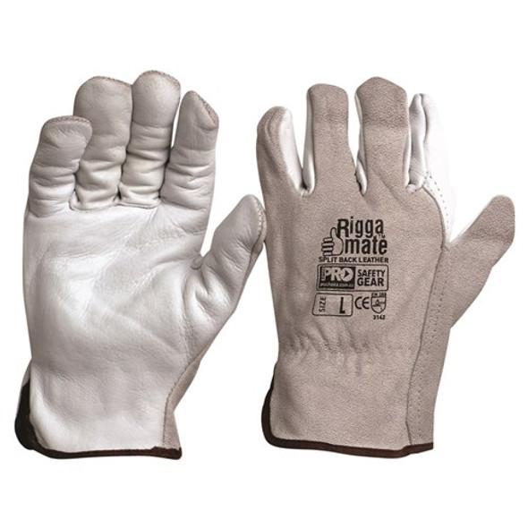 ProChoice® Riggamate Natural Cowgrain Palm / Split Back Gloves CGL41NSB pk12