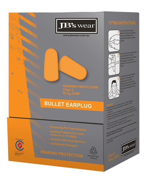 BULLET SHAPED EARPLUG (200 PAIR) 8P050