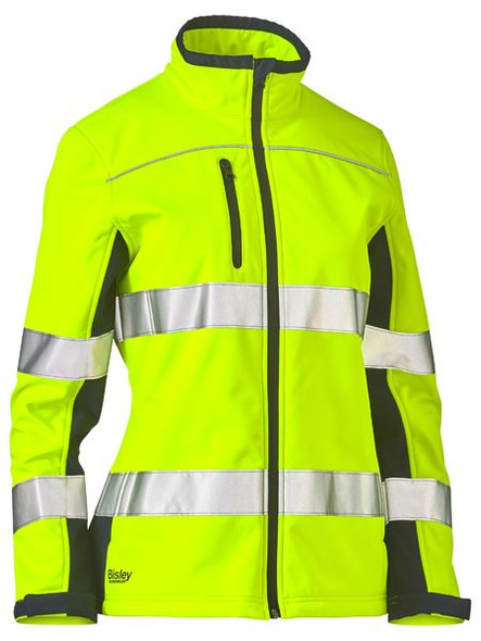 WOMENS TAPED TWO TONE HI VIS SOFT SHELL JACKET BJL6059T