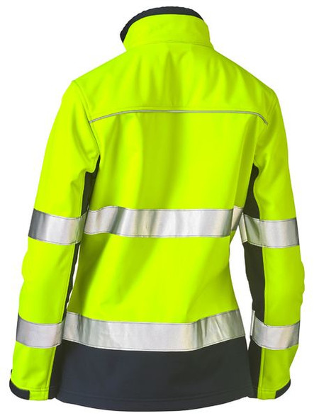 WOMENS TAPED TWO TONE HI VIS SOFT SHELL JACKET