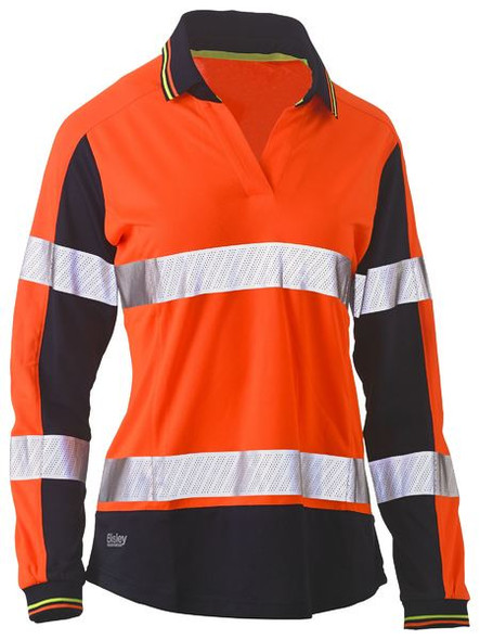 Womens Long Sleeve Taped Two Tone Hi Vis V-Neck Polo BKL6225T