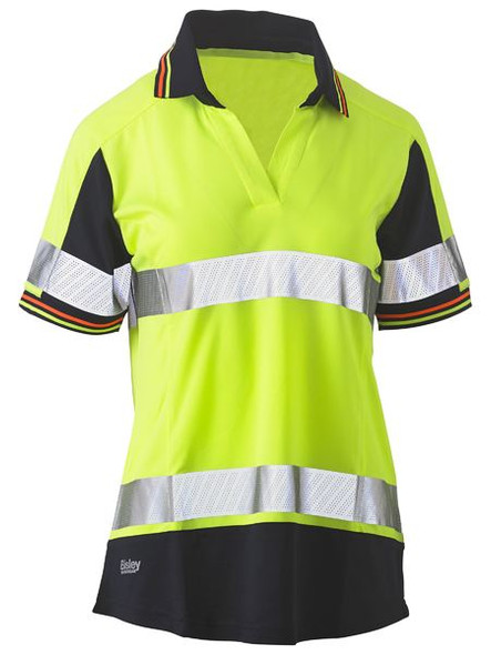 Womens Short Sleeve Taped Two Tone Hi Vis V-Neck Polo BKL1225T
