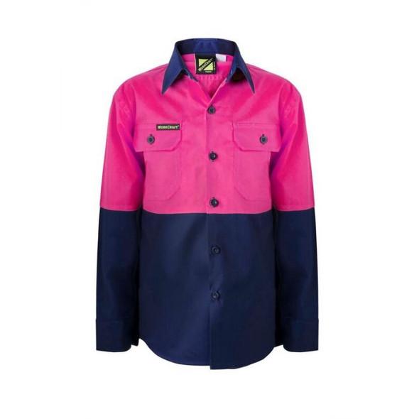 Kids Lightweight Two Tone Long Sleeve Cotton Drill Shirt WSK128