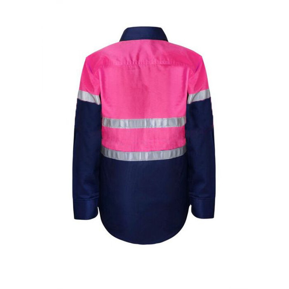 Kids Lightweight Two Tone Long Sleeve Cotton Drill Shirt with Csr Reflective Tape WSK129