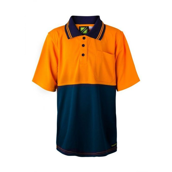 Kids Two Tone Short Sleeve Micromesh Polo With Pocket WSPK20