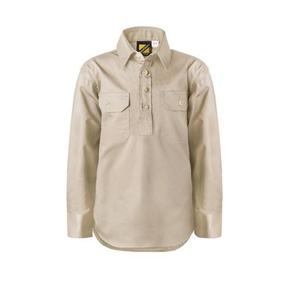 Kids Lightweight Long Sleeve Half Placket Cotton Drill Shirt With Contrast Buttons WSK131