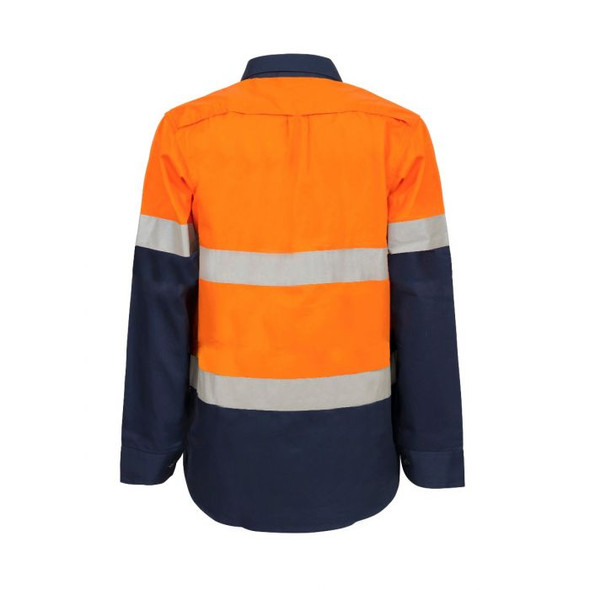 Maternity Lightweight Hi Vis Two Tone Long Sleeve Vented Cotton Drill shirt With Csr Reflective Tape WSL601