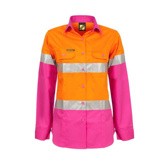 Ladies Lightweight Hi Vis Two Tone Long Sleeve Vented Cotton Drill shirt With Csr Reflective Tape WSL501