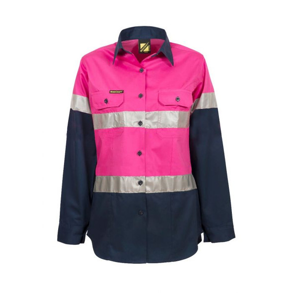 Ladies Lightweight Hi Vis Two Tone Long Sleeve Vented Cotton Drill shirt With Csr Reflective Tape - Night Use Only WSL503