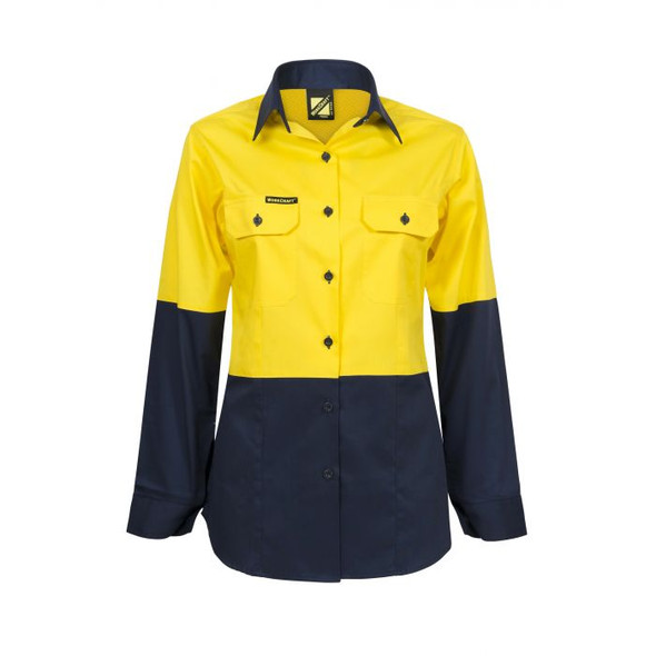 Ladies Lightweight Hi Vis Two Tone Long Sleeve Vented Cotton Drill Shirt WSL502