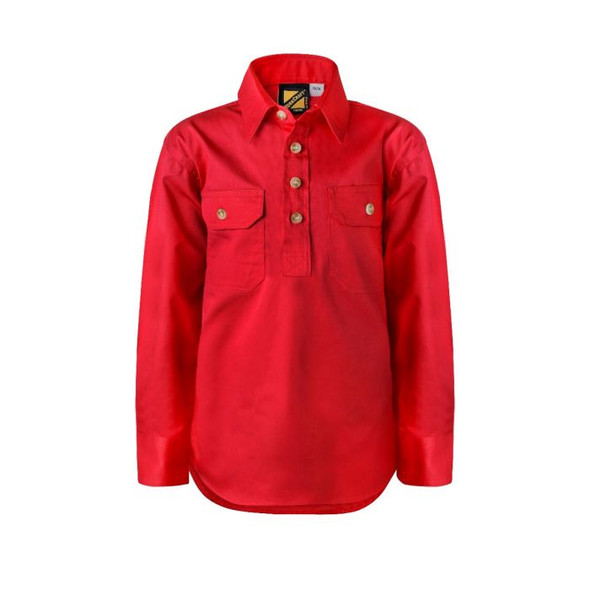 Ladies Lightweight Long Sleeve Half Placket Cotton Drill Shirt with Contrast Buttons WSL505