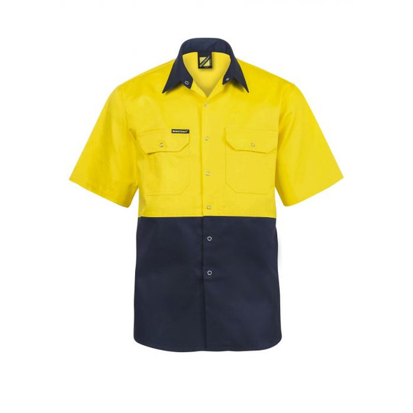 Hi Vis Two Tone Short Sleeve Cotton Drill Shirt With Press Studs WS3063