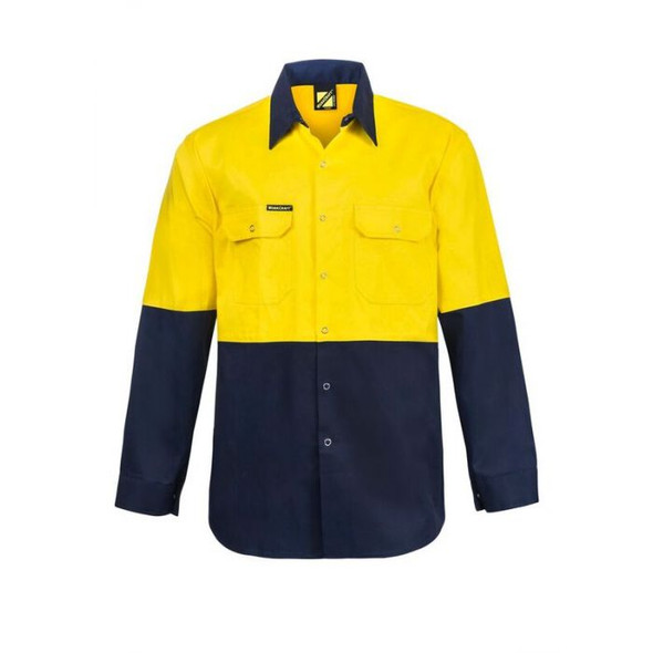 Hi Vis Two Tone Long Sleeve Cotton Drill Shirt With Press Studs WS3032