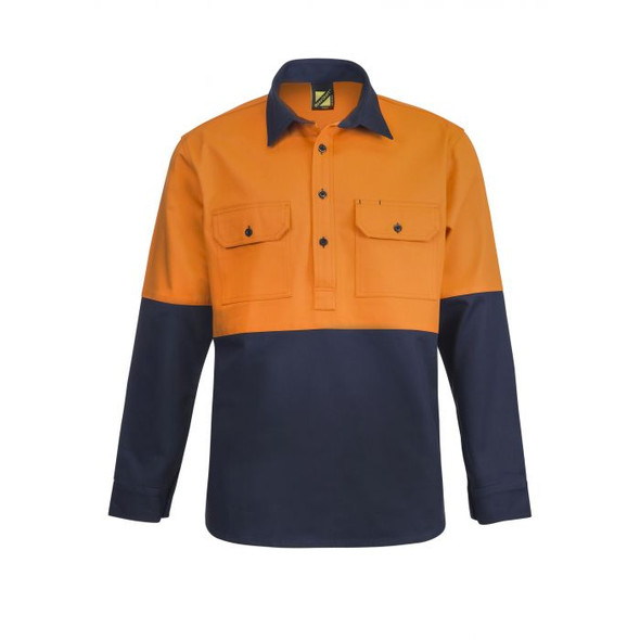 Heavy Duty Hybrid Two Tone Half Placket Cotton Drill Shirt with Gusset Sleeves WS4254
