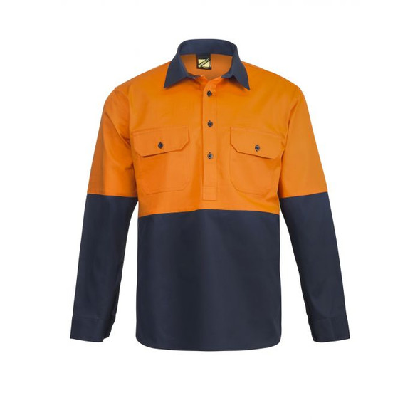 Hi Vis Two Tone Half Placket Cotton Drill Shirt with Semi Gusset Sleeves WS4256